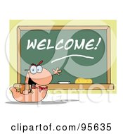 Royalty Free RF Clipart Illustration Of A Student Bookworm By A Welcome Class Room Chalkboard