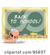Royalty Free RF Clipart Illustration Of A Student Bookworm By A Back To School Class Room Chalk Board