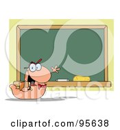 Royalty Free RF Clipart Illustration Of A Student Bookworm By A Class Room Chalk Board