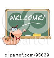 Royalty Free RF Clipart Illustration Of A Student Bookworm By A Welcome Classroom Chalkboard