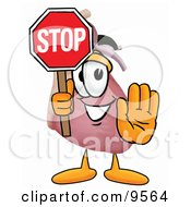 Clipart Picture Of A Heart Organ Mascot Cartoon Character Holding A Stop Sign