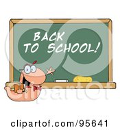 Royalty Free RF Clipart Illustration Of A Student Bookworm By A Back To School Classroom Chalkboard