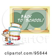 Royalty Free RF Clipart Illustration Of A School Boy Carrying Text Books By A Back To School Chalk Board