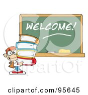 Royalty Free RF Clipart Illustration Of A School Boy Carrying Books By A Welcome Chalk Board