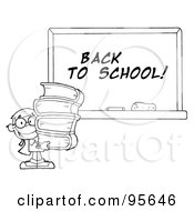 Royalty Free RF Clipart Illustration Of An Outlined School Boy Carrying Books By A Back To School Chalk Board