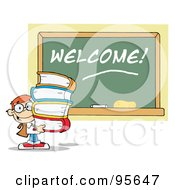 Royalty Free RF Clipart Illustration Of A School Boy Carrying Text Books By A Welcome Chalk Board
