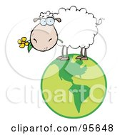 Royalty Free RF Clipart Illustration Of A White Sheep Standing On A Globe Carrying A Flower In Its Mouth