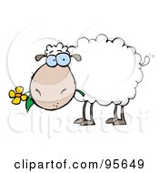 Royalty Free RF Clipart Illustration Of A White Sheep Carrying A Flower In Its Mouth
