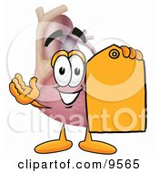 Heart Organ Mascot Cartoon Character Holding A Yellow Sales Price Tag