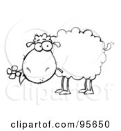Royalty Free RF Clipart Illustration Of An Outlined Sheep Carrying A Flower In Its Mouth