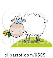 Royalty Free RF Clipart Illustration Of A White Sheep Eating A Flower On A Hill