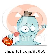 Royalty Free RF Clipart Illustration Of A Silly Blue Halloween Ghost Waving by Hit Toon
