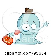 Royalty Free RF Clipart Illustration Of A Goofy Blue Halloween Ghost Waving by Hit Toon