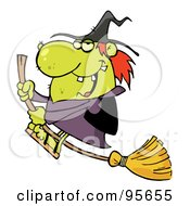 Royalty Free RF Clipart Illustration Of An Ugly Green Witch Swooping By On Her Broom
