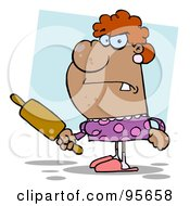 Royalty Free RF Clipart Illustration Of A Pissed Housewife Holding A Rolling Pin