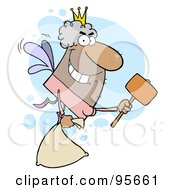 Male Hispanic Tooth Fairy Flying With A Bag And Mallet