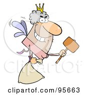 Royalty Free RF Clipart Illustration Of A Male Caucasian Tooth Fairy Flying With A Bag And Mallet