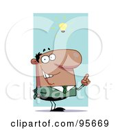 Royalty Free RF Clipart Illustration Of A Creative Hispanic Businessman Under A Lightbulb