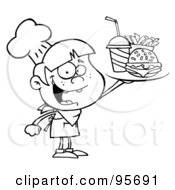 Royalty Free RF Clipart Illustration Of An Outlined Burger Boy Holding Up A Cheeseburger Fries And Cola