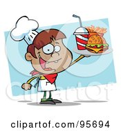 Royalty Free RF Clipart Illustration Of A Hispanic Burger Boy Holding Up A Cheeseburger Fries And Cola