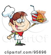 Royalty Free RF Clipart Illustration Of A Caucasian Burger Boy Holding Up A Cheeseburger Fries And Cola