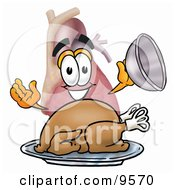 Clipart Picture Of A Heart Organ Mascot Cartoon Character Serving A Thanksgiving Turkey On A Platter