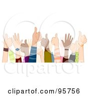 Royalty Free RF Clipart Illustration Of A Group Of Supportive Hands Giving The Thumbs Up