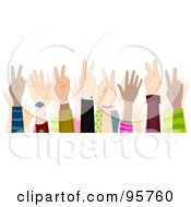 Royalty Free RF Clipart Illustration Of A Group Of Hands Gesturing Peace