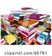 Royalty Free RF Clipart Illustration Of Many Stacks Of Text Books