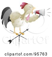 Royalty Free RF Clipart Illustration Of A Rooster Shouting Through A Megaphone On Top Of A Weather Vane by BNP Design Studio