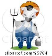 Royalty Free RF Clipart Illustration Of A Farmer Cow Wearing Overalls And Holding A Pitchfork And Pail by BNP Design Studio