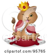 Royalty Free RF Clipart Illustration Of A Winking King Lion Cub In A Robe And Crown by BNP Design Studio