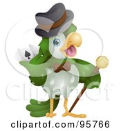 Royalty Free RF Clipart Illustration Of A Green Parrot Holding A Cane And Playing Cards by BNP Design Studio