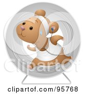 Sweaty Hamster Running In An Exercise Wheel And Listening To Music