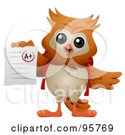 Royalty Free RF Clipart Illustration Of A Wise Owl Holding Up An A Graded Paper