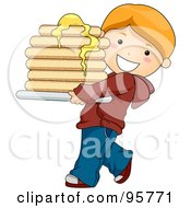 Royalty Free RF Clipart Illustration Of A Cute Caucasian Boy Carrying A Buttery Stack Of Pancakes by BNP Design Studio