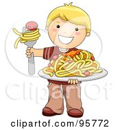 Royalty Free RF Clipart Illustration Of A Cute Caucasian Boy Holding A Plate Of Spaghetti