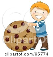 Cute Caucasian Boy Rolling A Giant Chocolate Chip Cookie by BNP Design Studio