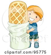 Cute Caucasian Boy Standing By A Giant Waffle by BNP Design Studio