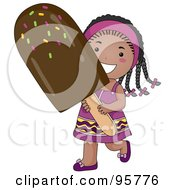 Royalty Free RF Clipart Illustration Of A Cute Little African American Girl Carrying A Large Fudgesicle by BNP Design Studio