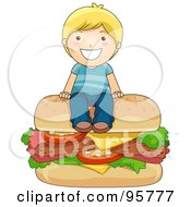 Royalty Free RF Clipart Illustration Of A Cute Caucasian Boy Sitting On Top Of A Giant Cheeseburger by BNP Design Studio
