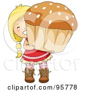 Royalty Free RF Clipart Illustration Of A Cute Little Girl Carrying A Large Cupcake Or Muffin by BNP Design Studio