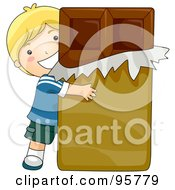Royalty Free RF Clipart Illustration Of A Cute Caucasian Boy Hugging A Giant Chocolate Bar by BNP Design Studio