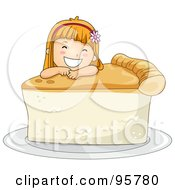 Royalty Free RF Clipart Illustration Of A Cute Little Girl Resting Her Head On A Slice Of Pie