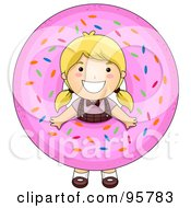 Royalty Free RF Clipart Illustration Of A Cute Little Girl Looking Through A Giant Donut