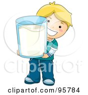 Cute Caucasian Boy Carrying A Giant Glass Of Milk by BNP Design Studio