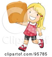 Cute Little Girl Carrying A Large Chicken Nugget by BNP Design Studio