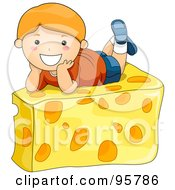 Royalty Free RF Clipart Illustration Of A Cute Caucasian Boy Resting On Top Of A Cheese Wedge by BNP Design Studio