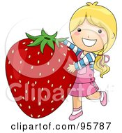 Royalty Free RF Clipart Illustration Of A Cute Little Girl Carrying A Giant Strawberry by BNP Design Studio
