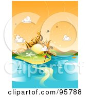 Royalty Free RF Clipart Illustration Of A Summer Sun Over A Tropical Island With Sailboats On The Water by BNP Design Studio